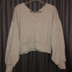 Long sleeve Grey cropped Sweatshirt